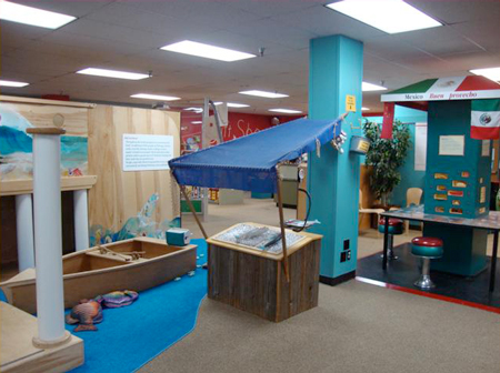 Fishing and food exhibits at the old Explore & More East Aurora location.