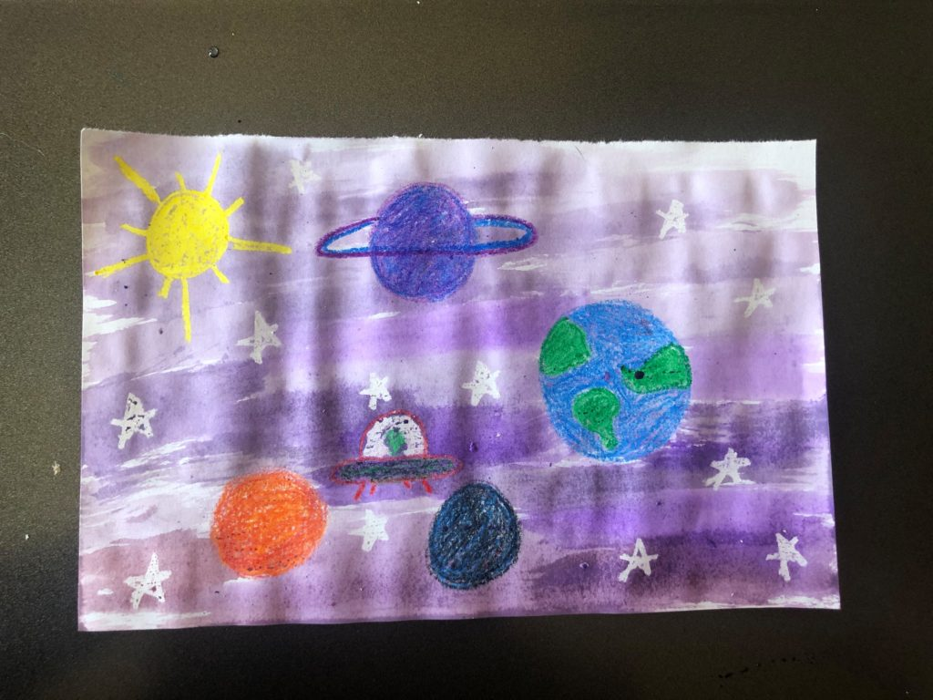 Sanity Savers: Crayon Resist Space Painting