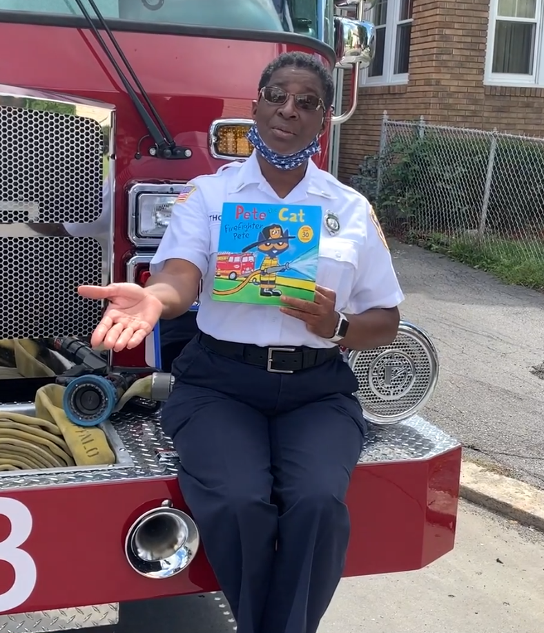 Storytime, Honk for Heroes Edition: Lieutenant Shelby Thompson from the Buffalo Fire Department reads Pete the Cat: Firefighter Pete by James Dean.